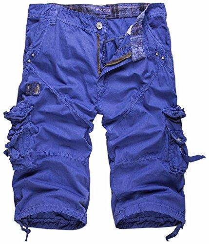 UMilk Herren Casual Baumwolle Solid Multi Pocket Cargo Shorts Capri Hose (Cherokee Leggings)