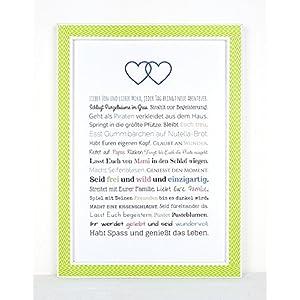 Geschenk Geburt Zwillinge - Personalisiertes Bild mit Rahmen für Babies und Neugeborene - Geschenkidee z.B. als Gastgeschenk zur Geburt - Variante für Brüder