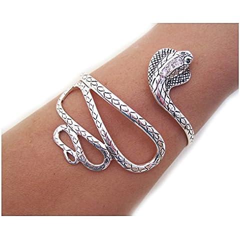 TreasureBay - Eccezionale bracciale rigido da donna, in argento Sterling 925 massiccio, motivo a serpente, peso: 18 g - Links Of London Gioielli