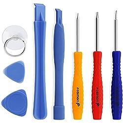 Fosmon (8 en 1) Kit d'outils pour iphone,Kit de Tournevis Outils Ouverture Démontage Réparation Écran LCD pour iPhone X/8 Plus/8/7 Plus/7/6/6S/5/4,iPad,Smartphones,Tablettes,Macbook,Samsung, Appareils