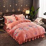 FGKLU Gold Samt Bettwäsche Set 4 Teilig, Weiche Bettwäsche Set, mit Reißverschluss und Eckknöpfen (1 Bettbezüge, 1 Spannbettlaken, 2 Kissenbezug),003,King