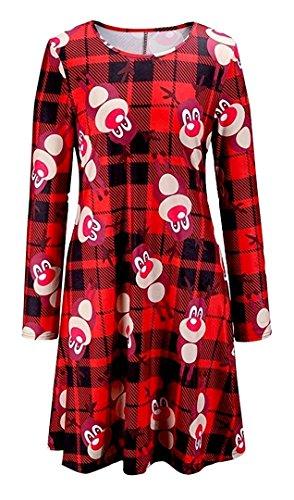 FK Styles Frauen Kleid Langarm Weihnachtsweihnachts Neuheit Printed Partei Swing Check Reindeer Swing Dress