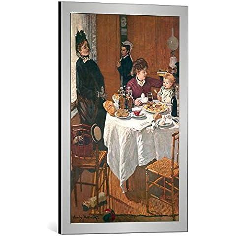 """Quadro con cornice: Claude Monet """"Le Dejeuner"""" - stampa artistica decorativa, cornice di alta qualità, 45x70 cm, Argento spazzolato"""