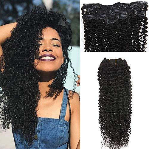 Easyouth Clip in Hair Extensions 20 zoll 100g 7Pcs Pro Paket Natürliches Schwarzes Verworre Curly Haar Clip Extensions (Clip In 100 Human Hair Extensions)