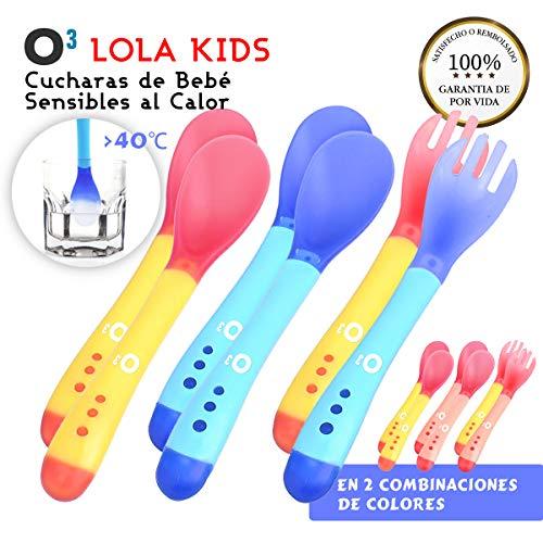 O³ Cucharas Silicona Bebe 6 Uds (4 Cucharas + 2 Tenedores) - 2 Versiones | Cucharas Sensibles Al Calor - Cucharas Silicona Bebé Cambian Color A Más De 40°C - Sin BPA - Aptas Para Lavavajillas (Azul)
