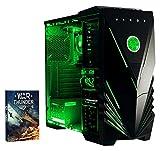 Vibox Standard 3 Gaming PC con Gioco War Thunder, 3.1GHz AMD A8 Quad Core Processore, Radeon R7 Chip Grafico, 1TB HDD, 8GB RAM, Case Predator, Neon Verde