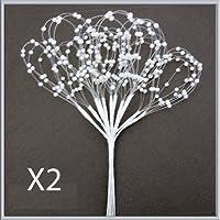 Floral Supplies - Perlen Schlaufen Stengel 24x ( 2 Sträusse ) Weiss