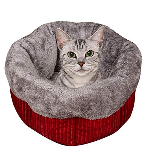 BBring | Haustierbett Runden Nisthöhle Hundebett Katzenbett für Hunde Katze Cord flauschig Haustier Kissen Hundesofa Hundematte Fleece-Futter Hundematratze Hundekörbchen Hundedecke (S, Rot) -