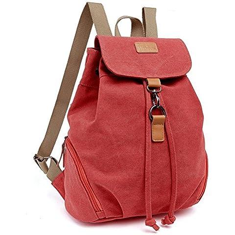 Moda Modelo lavado agua lienzo mochila 15L para las jóvenes de compras y viajes rojo rosso