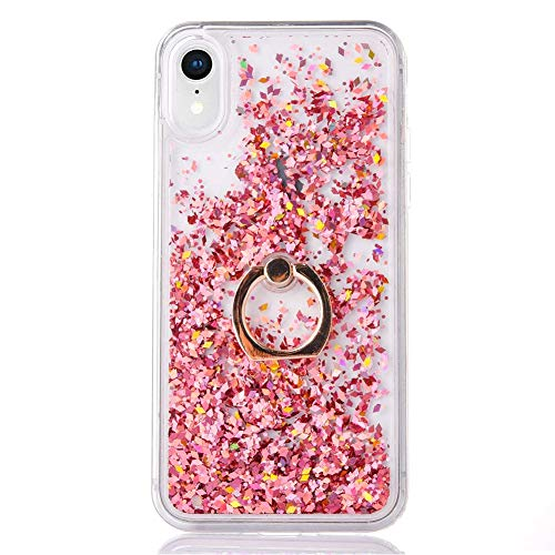 """iPhone XR Case Glitter [Free Tempered Glass Screen Protector],Mo-Somnus Flowing Liquid Floating Bling Shiny Sparkle Glitter Case Cover for Apple iPhone XR 6.1"""" (Rose Gold)"""