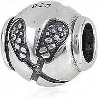 Reale 925 Sterling Silver Charm Lacrosse Sport Bead per i braccialetti europei fascini Story - Fascini Del Cuore Di Vetro