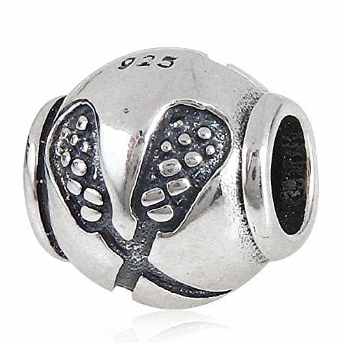 Reale 925 Sterling Silver Charm Lacrosse Sport Bead per i braccialetti europei fascini Story
