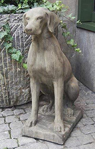 pompidu-living Pointer-Figur - Gartenfigur aus Stein - Jagdhund aus Stein als Dekoration für den Garten - Hunde Steinfigur in Farbe Antikfinish