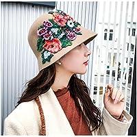 IWG Sombrero de Fieltro de Lana de Womne Estilo Nacional Femenino Peinados a Mano Peony Cúpula Floral Cubo Sombreros Fedora Calentar (Color : Tan, tamaño : 56-58cm)