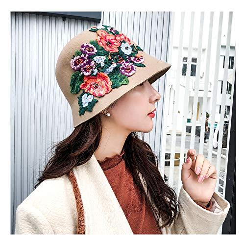 ZhengFei 2019 Neue Wollfilzhut Nationalen Stil Weibliche Hand gehäkelte Pfingstrose Floral Dome Eimer Fedora Hüte Für Frauen Sommerhut im Freien (Farbe : Tan, Größe : 56-58CM) Floral Dome