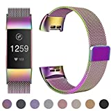 HUMENN Strap for Fitbit Charge 3, Milanese Metal Replacement Band Fully Adjustable Wristbands with Strong Magnet Lock for Fitbit Charge3, Small Colourful