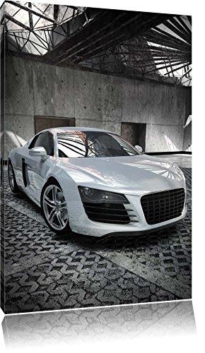 Audi r8 silber, Bild auf Leinwand, XXL riesige Bilder fertig gerahmt mit Keilrahmen, Kunstdruck auf Wandbild mit Rahmen, günstiger als Gemälde oder Ölbild, kein Poster oder Plakat, Format:100x70 cm