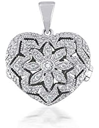 Bling Jewelry Guardapelo Colgante Pave en forma de Corazón