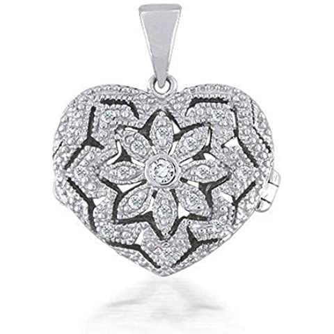 Bling Jewelry Sterling Silver Vintage Pave Heart Locket Pendant