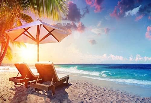 Cassisy 1,5x1m Vinyl Meer Foto Hintergrund Zwei Liegestühle Sonnenschirm Tropischer Strand Palmen...