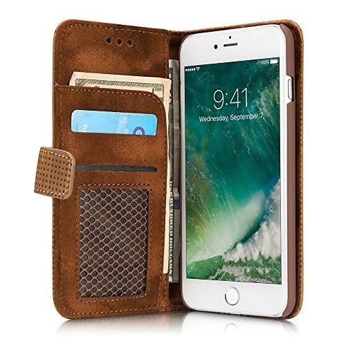 GR PU Leder Folio Stand Brieftasche Pouch Case Cover mit Ständer Kartensteckplätze für iPhone 6 Plus und 6s Plus ( Color : Darkgray ) Yellow