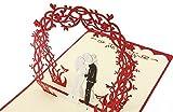 BC Worldwide Ltd Pop-up pop-up a mano 3D pop-up matrimonio giardino rosa fiore cancello grande giorno anniversario festa sposa sposo invito congratulazioni carta regalo San Valentino fidanzamento matrimonio anniversario presente