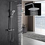 Auralum® Thermostat Duschset Überkopfbrause Regenduschkopf Wasserfall Duschkopf mit Handbrause, Brausehalter, Duschsäule und Brauseschlauch, Weiß Brausegarnitur für Badzimmer