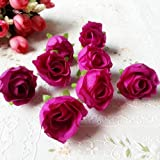 RICISUNG 50pcs Artificial Roses Flower Heads 3cm Wedding Decoration rose Red