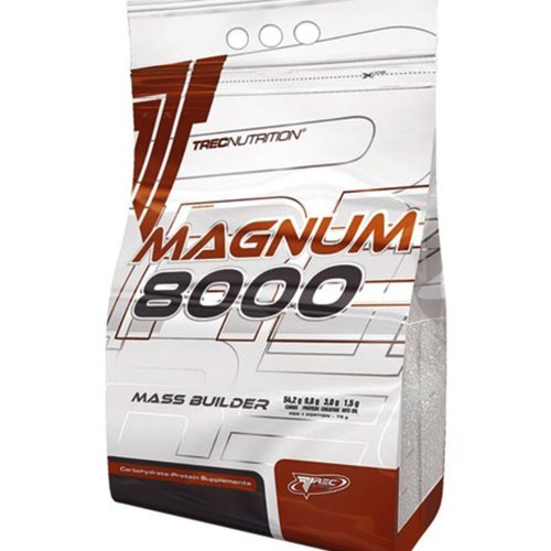 """Magnum 8000 Mass Weight Builder - 1.0kg (strawberry) - Massive increase in body weight - Advanced """" HARD GAINER """" (13% protein) with creatine and MCT oil - Trec Nutrition"""