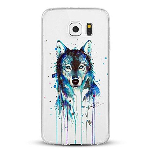 Pacyer kompatibel mit Galaxy S7 / S7 Edge Hülle Silikon Ultra dünn Transparent weich Schutzhülle Rückschale Handyhülle Backcover Nettes Tier Wolf Katze Muster (2, Galaxy S7)