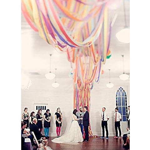 Les fêtes et les mariages 25m 12rouleaux de papier crêpe serpentins en 6couleurs pour divers grands événements,