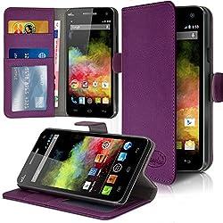 Seluxion - Etui Coque Portefeuille Couleur Violet pour Wiko Rainbow 4G + Film de Protection