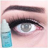 Farbige Kontaktlinsen White Screen weiss + 60ml Pflegemittel + Behälter - Funnylens Markenqualität, 1Paar (2 Stück) farbige lenses perfekt zu Halloween, Karneval, Fasching oder Fastnacht