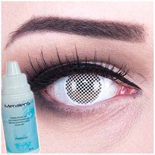 e weisses Gitter Crazy Fun Kontaktlinsen crazy contact lenses White Screen perfekt zu Fasching, Karneval und Halloween 1 Paar. Mit gratis Linsenbehälter + 60ml Pflegemittel (Top 10 Zombie Kostüme)