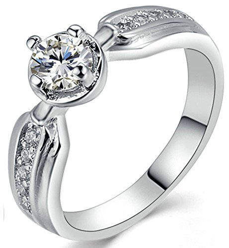 SaySure 18K White Gold Plated Anniversary Wedding & Engagement Ring