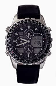 Accurist Gents World Timer Chronograph Black Leather Strap Watch-MS775