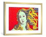 kunst für alle Bild mit Bilder-Rahmen: Andy Warhol Venus red - dekorativer Kunstdruck, hochwertig gerahmt, 100x70 cm, Gold gebürstet