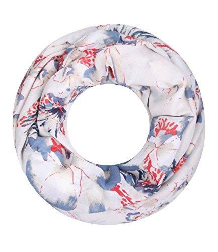 Majea NEU Damen Loop Schal viele Farben tolle Muster Schlauchschal Halstücher XXL (weiß 2)