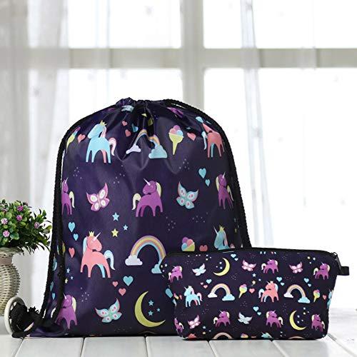 KroY PecoeD Unicorn Drawstring Rucksack Make-up Bag Set - wasserdichte Drawstring Bag Print Rucksack Travel Gym Taschen Unicorn Geschenke für Mädchen(Style 09) -