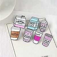 FULAISI Cartoon Milk Coffee ice Cream Teacup Brooch Lapel Pins Badge Women Girls Children Clothing Bag Decor
