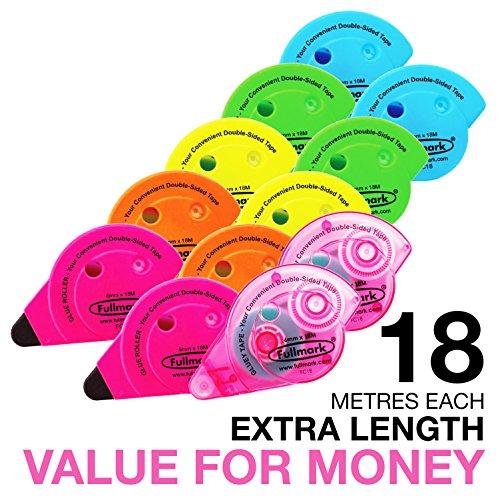 FULLMARK Permanent haftend/Klebstoff Roller/Kleberoller, 6 mm x 18 m pro Stück, verschiedene Farben, 12 Stück