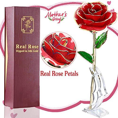 AMENON Rosa de Oro 24k con Caja de Regalo Base Soporte 24k Chapado en Oro Rosa para Hombre Mujer Madre Abuela Dia de la Madre Dia de San Valentin Regalo de Cumpleaños (Rojo)