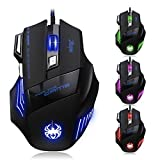 [New Version] Zelotes 7200 DPI 7 Buttons LED Optical USB Wired Gaming Mouse Mice for Gamer PC MAC