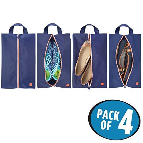 mDesign Set da 4 portascarpe da viaggio - Borse leggere per scarpe in poliestere per la valigia - Versatili sacchetti portascarpe da sport, porta cosmetici e da spiaggia - Blu navy/bianco/arancione