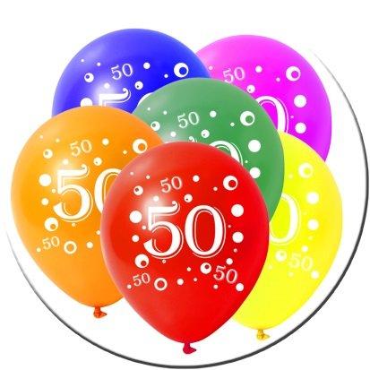 rtstag Zahl 50 bunt gemischt 30cm Durchmesser (Geburtstag Luftballon Lieferung)