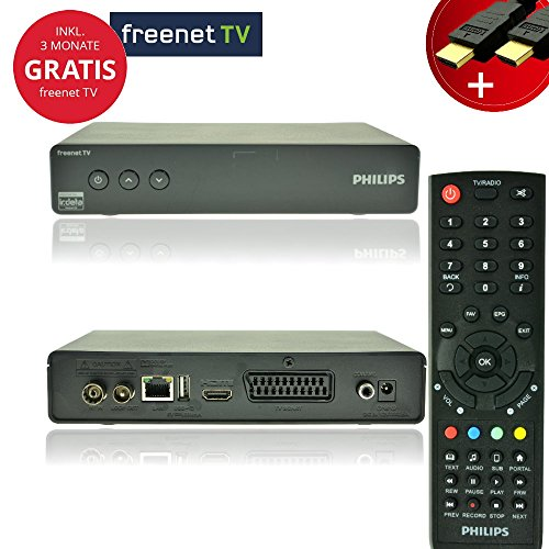 Philips Digital DVBT-2 Receiver Set + 3 Monate freenet TV Gratis + NA-Digital HDMI Kabel und Fernbedienung