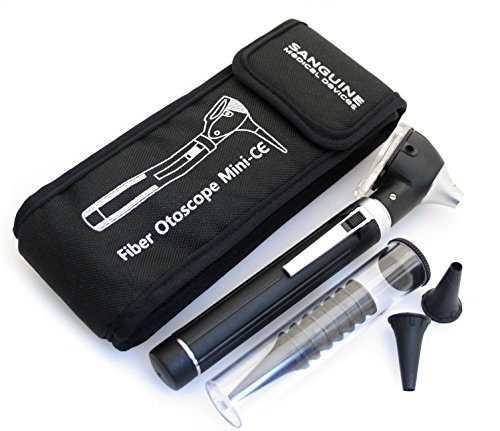 Mini ENT Otoscope, Complete Set - Fiber Optic Medical Diagnostic Otoscope & Carry Pouch - Black by Sanguine