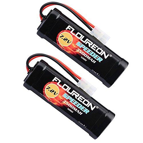 FLOUREON 7.2V 3500mAh NiMH Batteria Ricaricabile a 6 Celle con Spina Tamiya per Popolari Auto RC Standard tra Cui Traxxas, LOSI, associato, HPI, Tamiya, Kyosho(Pacchetto da 2)