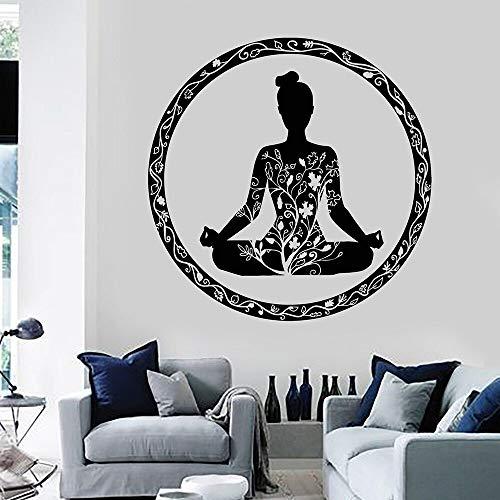 yiyitop Yoga Meditation Zimmer Kreis Ornament Buddhismus Vinyl wandtattoo wohnkultur Wohnzimmer kunstwand Aufkleber 58 * 58 cm -