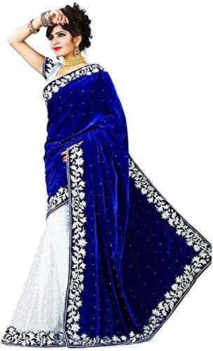 HNC Retail® Women's Embroidered Velvet & Georgette Saree with Blouse Piece